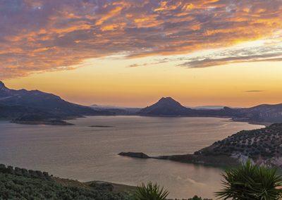 Sunset on Lake Iznajar, Andulusia